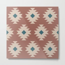 Southwestern Pattern 536 Teal Green and Brown Metal Print