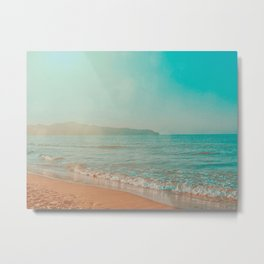 Crete Greece Beach, Teal and Orange Metal Print