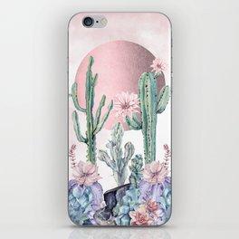 Desert Sun + Gemstones Rose Gold Pink Watercolor iPhone Skin