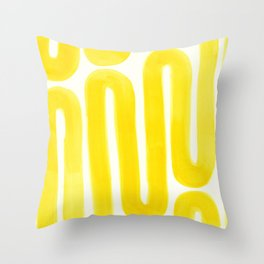 yellow subway Throw Pillow