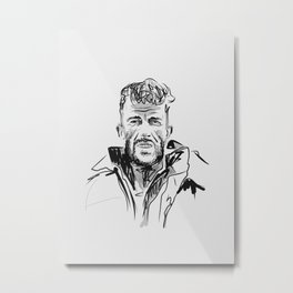 Adventurer Illustration - Edmund Hillary  Metal Print
