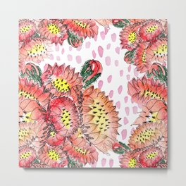 Orange Cacti Flowers Metal Print