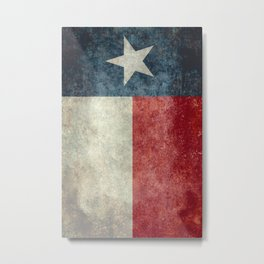 Texas state flag, Vintage banner version Metal Print