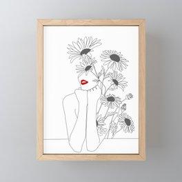 Minimal Line Art Girl with Sunflowers Framed Mini Art Print