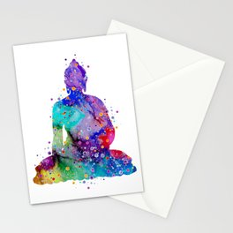 Buddha Colorful Watercolor Art Zen Gift Meditation Pose Stationery Cards