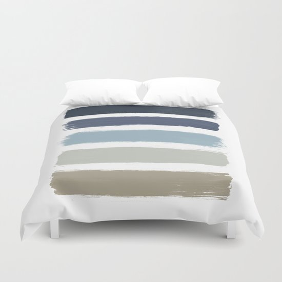Blue & Taupe Stripes by paperpixelprints