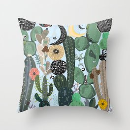 Succulents, moon and stars pattern Throw Pillow