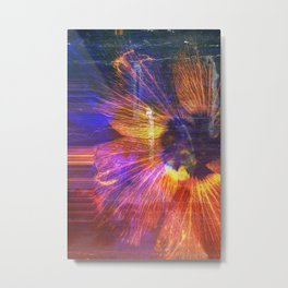 Macro glitch flowe rye Metal Print