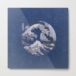 The Great Wave off Kanagawa Blue Tones Metal Print