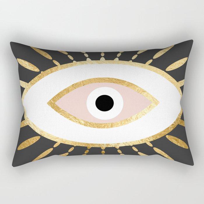 gold foil evil eye in blush Rechteckiges Kissen
