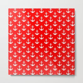 Anchors (White & Red Pattern) Metal Print