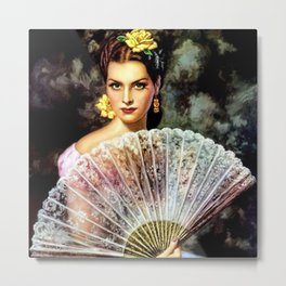 Ojos Verdes Mujer con Abanico (Green-eyed Woman with Fan) by Jesús Helguera Metal Print