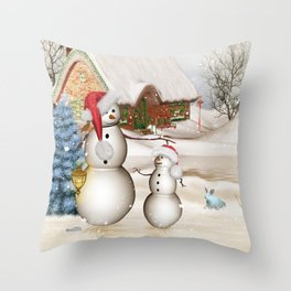 Funny snowmans with christmas hat Throw Pillow