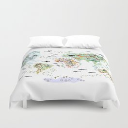 Cartoon animal world map for children and kids, Animals from all over the world back to school Duvet Cover