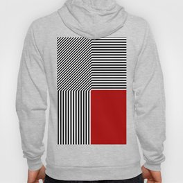 Geometric abstraction, black and white stripes, red square Hoody