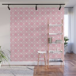 Pink and white geometric pattern Wall Mural