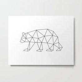 Geometric Bear in Black and White Metal Print