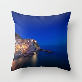 As the night falls over Manarola Throw Pillow