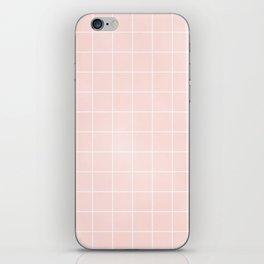Blush Pink Coral Grid Pattern Line Stripe iPhone Skin