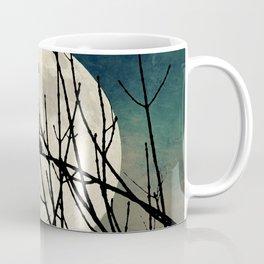 Rustic Crow Black Bird Night Full Moon Teal Cottage Chic Art A550 Coffee Mug