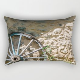 Rural stilllive in France - South Europe. Brick wall with blue wheel in the French countryside | Travel photography Rectangular Pillow