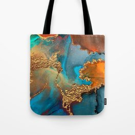 Abstract Blue And Gold Autumn Marble Tote Bag
