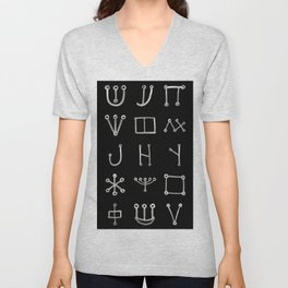 Heinrich Cornelius Agrippa Of Occult Philosophy 1651 Malachim Alphabet Collected Inverted Unisex V-Neck