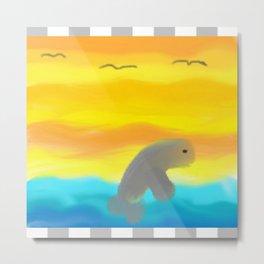 Dolphin In Flight Metal Print