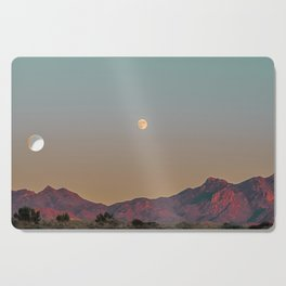 Sunset Moon Ridge // Grainy Red Mountain Range Desert Landscape Photography Yellow Fullmoon Blue Sky Cutting Board