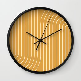 Minimal Line Curvature - Golden Yellow Wall Clock