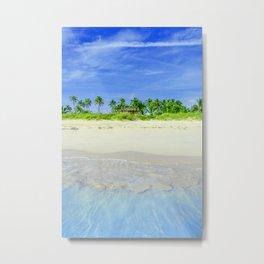 Tropical Sandy Palm Tree Beach Metal Print