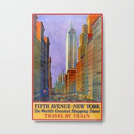 Fifth Avenue, New York - Vintage Poster Metal Print