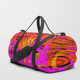 Acrylic striped spots on colored marble dust with bright yellow ink. Duffle Bag