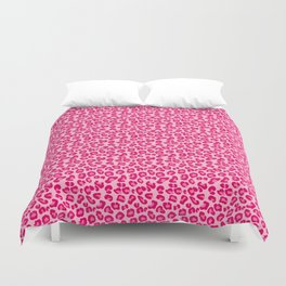 Leopard Print in Pastel Pink, Hot Pink and Fuchsia Duvet Cover