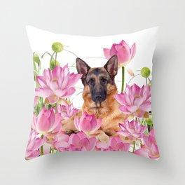 German Sheep Dog Lotos Field Throw Pillow