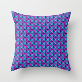 Tiled pattern of dark blue rhombuses and purple triangles in a zigzag and pyramid. Throw Pillow