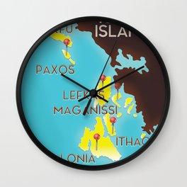 ionian Islands map Wall Clock
