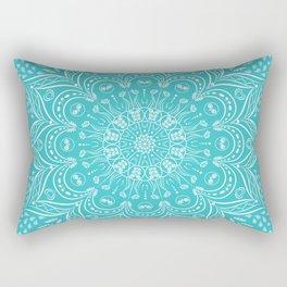 Teal Boho Mandala Rectangular Pillow