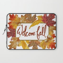 A Welcome Fall with Colorful Leaves Sign Laptop Sleeve