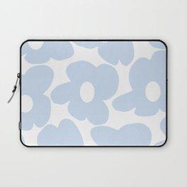 Large Baby Blue Retro Flowers White Background #decor #society6 #buyart Laptop Sleeve