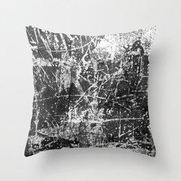 black abstract mono graffiti texture pattern Throw Pillow