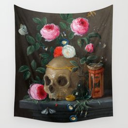 Skull with Crown and Flowers Still Life Wall Tapestry