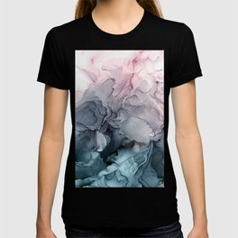 Blush and Payne's Grey Flowing Abstract Painting T-Shirt