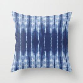 Blue shibori scratched Throw Pillow