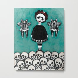 Day of the Dead Cats 8 Metal Print