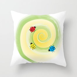 Ladybirds on the Vine Throw Pillow