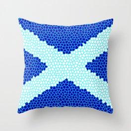 Mosaic Scottish Flag Throw Pillow