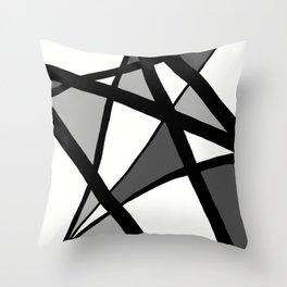 Geometric Line Abstract - Black Gray White Throw Pillow
