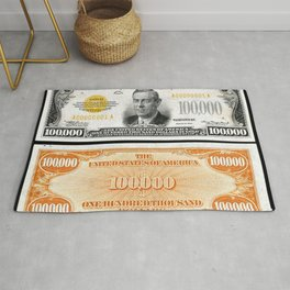Vintage 1934 $100,000 Dollar Bill Gold Certificate Woodrow Wilson Wall Art Rug