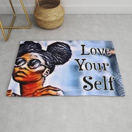 Love Your Self African American Black Woman Rug